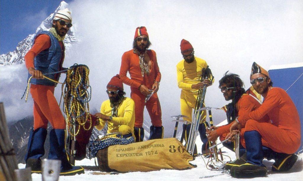 J. Pons, M. Martín, E. Civis, A. Villena, X. Pérez i Josep M. Anglada a l'Expedició Annapurna (1974)