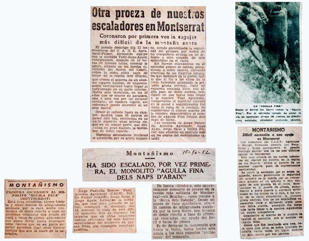 Retalls de diari relatius a l'Agulla Fina (1952)