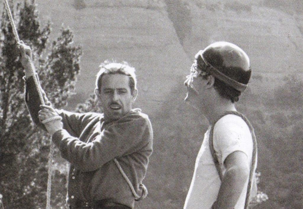 Andreu Sorolla (esquerra) i Josep Nogués (Serreta). 1ª ascensió al Cap de Faraó